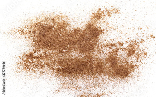 Fotografía  Cinnamon powder isolated on white background, top view