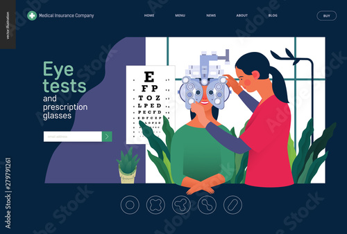 Cuadros en Lienzo  Medical tests template - eye tests and prescription glasses -modern flat vector