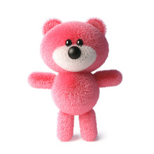Soft Pink Fluffy Teddy Bear Character Standing Peacefully, 3d Illustration