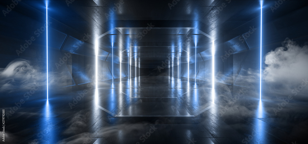 Fototapeta Smoke Retro Modern Futuristic Blue Sci Fi Vibrant Neon Light Shapes Laser Beams Grunge Concrete Reflective Tunnel Corridor Hall Garage Underground 3D Rendering