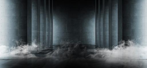 Smoke Modern Elegant Architecture Grunge Concrete Columns Cement Reflective Underground Hallway Room Garage Gallery Tunnel Corridor Dark Empty Background 3D Rendering