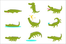 Smiling Friendly Crocodile Cartoon Character And Its Everyday Wild Animal Activities Set Of Illustrations