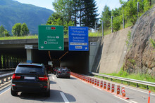 Jam On The  Express Way To The Gotthard Street Tunnel In Switzerland