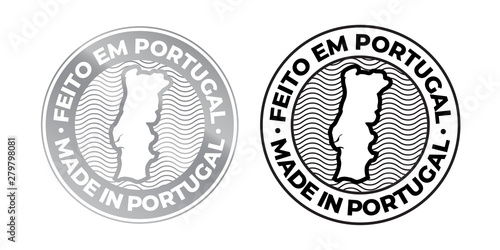 Photo Made in Portugal, Feito em Portugal vector map icon