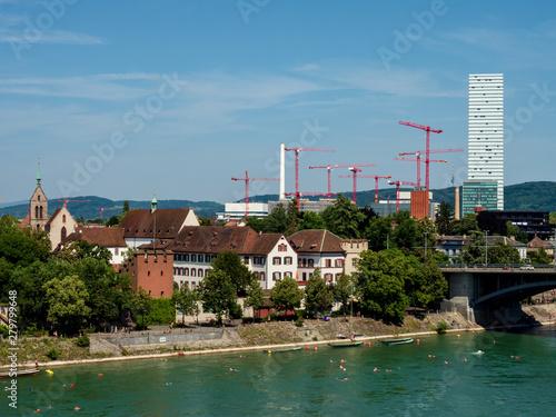 Construction of new skyscrappers in Basel, many cranes Tapéta, Fotótapéta