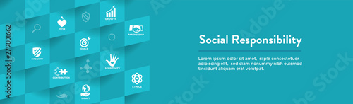 Carta da parati CSR-Corporate Social Responsibility Outline Icon Set - Web Header Banner