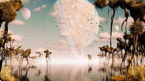 Fotografie, Obraz exoplanet landscape, alien world with strange plants and flying creatures