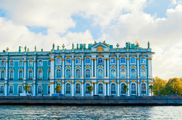 Saint Petersburg, Russia. State Hermitage Museum or Winter palace at the Palace Embankment.