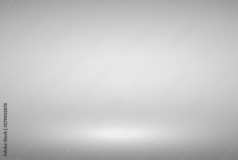 Fototapeta Product Showcase Spotlight Background - Crisp and Clear Infinite Horizon White Floor - Light Scene for Modern Clean Minimalist Design, Widescreen in High Resolution - obraz na płótnie