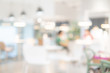 canvas print picture - Abstract blurred restaurant background. Blurry cafe or coffee shop with dining tables, chairs and other decorations. Blur backdrop for design element. Food and beverage concept.
