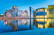Leinwandbild Motiv Berlin government district with Spree river at twilight, central Berlin Mitte, Germany