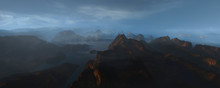 Ocean Shore With Cliffs At Dusk Panorama, Realistic 3d Illustration
