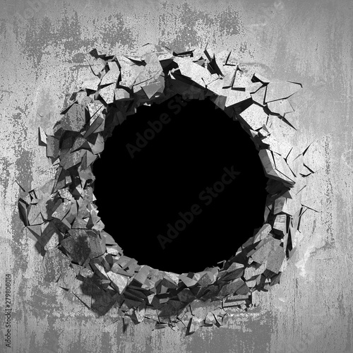 Pinturas sobre lienzo  Dark cracked broken hole in concrete wall. Grunge background