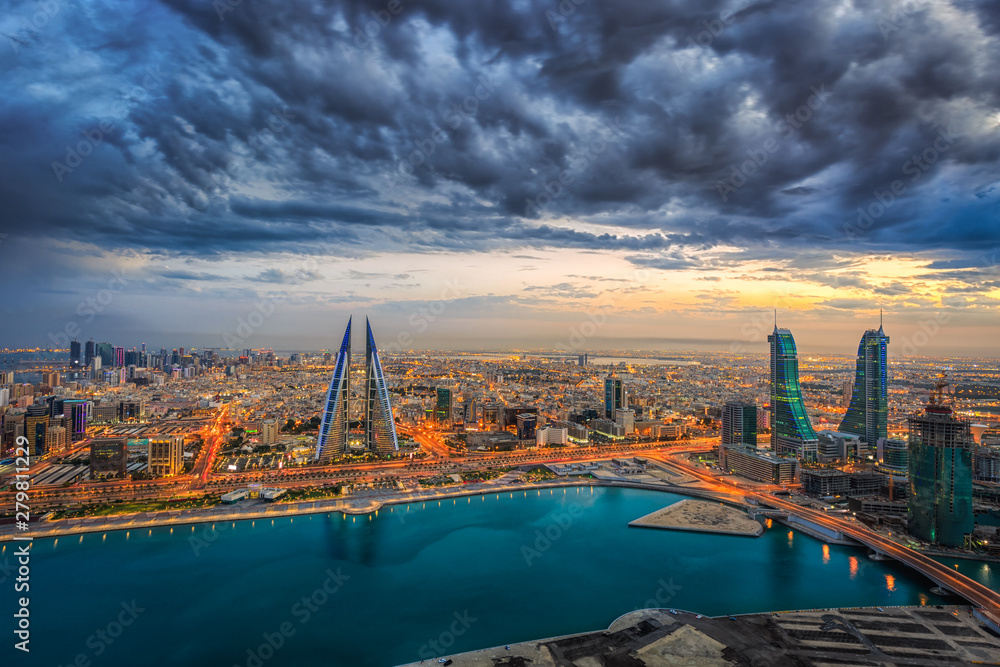 Fototapety, obrazy: Aerial view of architecture and newly constructed areas in Manama, Bahrain