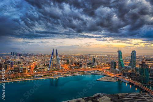 Aerial view of architecture and newly constructed areas in Manama, Bahrain Canvas Print