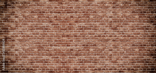 Poster Graffiti Panoramic background of wide old red brick wall texture. Home or office design backdrop