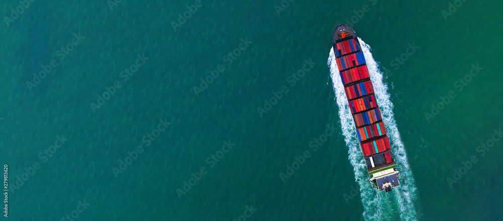 Fototapety, obrazy: Container ship carrying container for import and export, business logistic and transportation by container ship in open sea, Aerial view container ship with copy space for design banner web