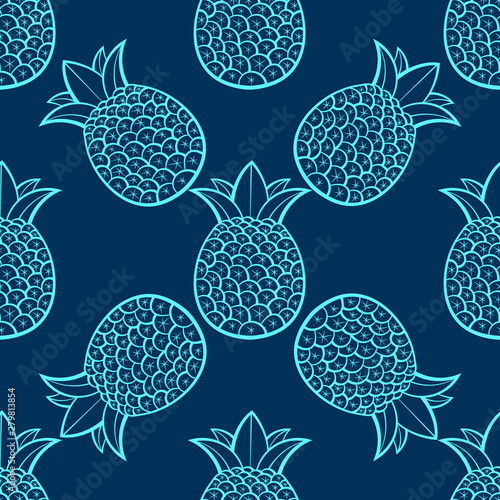 fototapeta na ścianę Pineapples , Tropical With A Black Background. Seamless Vector Pattern.