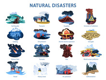 Natural Disaster Set. Earthquake And Flood, Forest In Fire