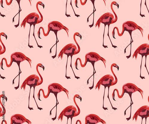 Canvas Prints Flamingo Bird Tropical wildlife, flamingo seamless pattern. Hand Drawn jungle nature, flowers illustration. Print for textile, cloth, wallpaper, scrapbooking