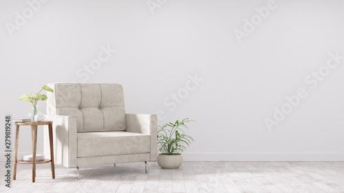 Fototapeta Modern vintage interior of living room - 3D Rendering