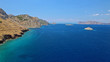 Aerial drone photo of small bay of Molos in picturesque island of Ydra or Hydra, Saronic gulf, Greece