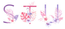 Watercolor Hand Drawn Tropic Letters Monograms Or Logo. Uppercase S, T, U With Jungle Herbal Decorations. Palm And Monstera Leaves, Flowers And Flamingo.