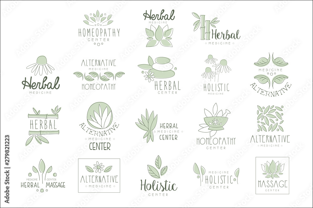 Fototapety, obrazy: Alternative Medicine Center With Oriental Herbal Treatment And Holistic Massage Procedures Set OF Label Templates