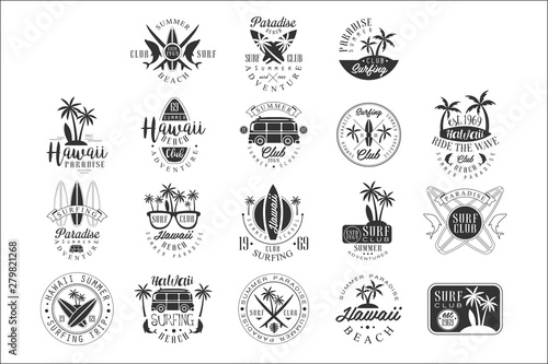 Photo Hawaiian Beach Surfing Vacation Black And White Sign Design Templates With Text