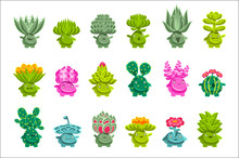 Alien Fantastic Plant Characters With Succulent Vegetation And Humanized Root With Friendly Faces Emoji Stickers Set
