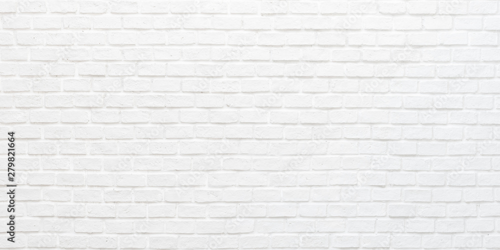 Fototapeta White brick wall texture background for stone tile block painted in grey light color wallpaper modern interior and exterior and backdrop design