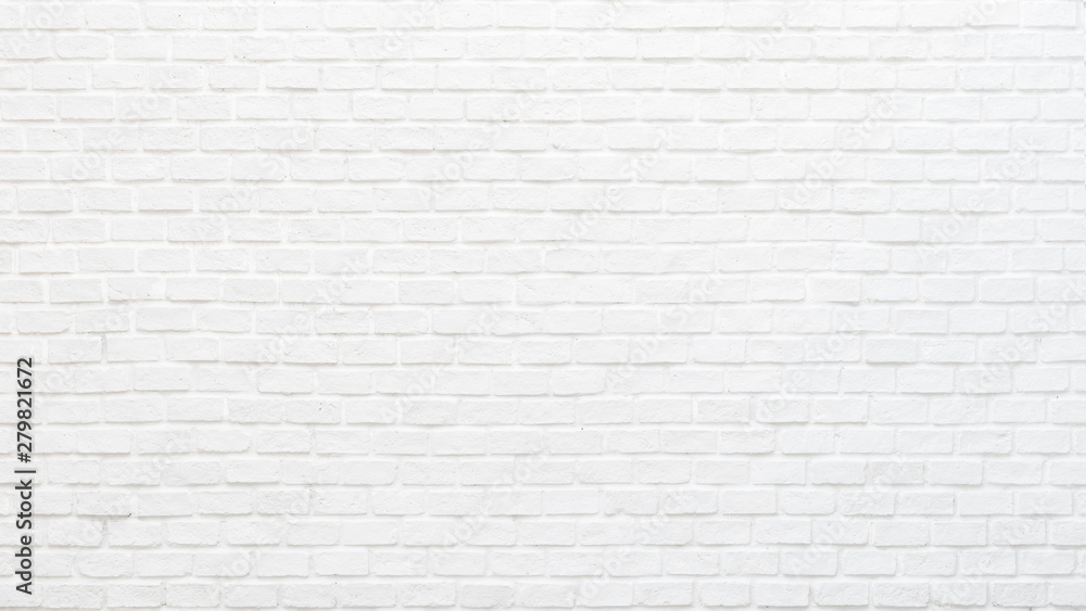 Fototapety, obrazy: White brick wall texture background for stone tile block painted in grey light color wallpaper modern interior and exterior and backdrop design