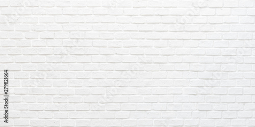 Photo sur Toile Brick wall White brick wall texture background for stone tile block painted in grey light color wallpaper modern interior and exterior and backdrop design