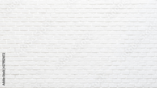 Fototapeta White brick wall texture background for stone tile block painted in grey light color wallpaper modern interior and exterior and backdrop design obraz