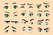 Man's and woman's emotions isolated vector eyes and eyebrows silhouette, face parts.