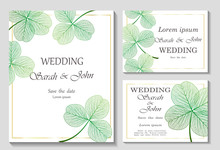 Set Wedding Invitation With Clover Leaves, Isolated On White.  Vector Illustration.