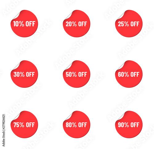 Vászonkép  round red discount stickers