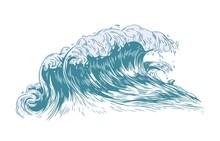 Stylish Drawing Of Sea Or Ocea...