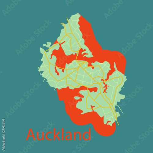 Fotografie, Obraz Map - Auckland (New Zealand) - Flat -Illustration