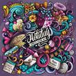 Holiday hand drawn vector doodles illustration. Birthday poster design.
