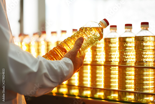 Fototapeta Sunflower oil. Line for the production and bottling of refined oil from sunflower seeds. Conveyor of food industry obraz