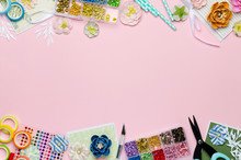 Paper Flowers, Tools, Paper And Scrapbooking Items On Pink Background. Scrapbooking, Top View, Empty Space For Text In The Center
