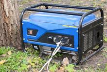 Mobile House Backup Generator Outdoors, Portable Generator For Home Emergency.  Backup Generator Control Panel