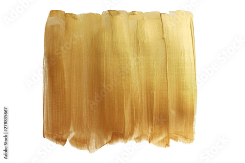 Abstract gold glittering frame on white background. Paint smear stroke stain texture.