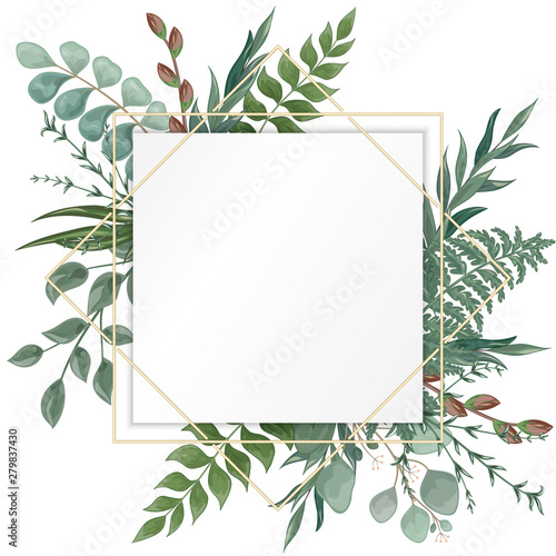 фотография  Wedding invitation with eucalyptus leaves, watercolor, isolated on white