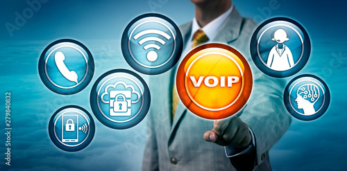 Unrecognizable Consultant Highlighting VOIP App - Buy this stock
