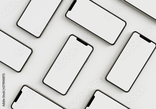 Obraz 3d render illustration hand holding the white smartphone with full screen and modern frame less design - isolated on white background  - fototapety do salonu