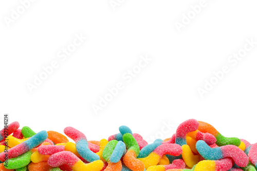 Juicy colorful jelly sweets isolated on white. Gummy candies. Snakes.