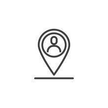 Meeting Point Line Icon. User ...