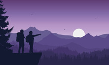 Realistic Illustration Of Two Tourist, Man And Woman With Backpack, Mountain Landscape With Coniferous Forest Under Purple Sky With Flying Birds, Vector
